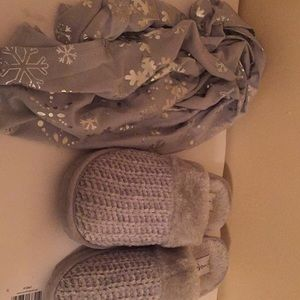 Silver snowflake infinity scarf and bedroom shoes